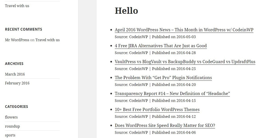 wp rss feed demo