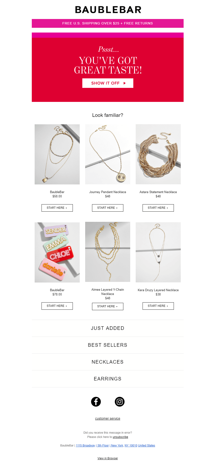 BaubleBar's abandoned cart email