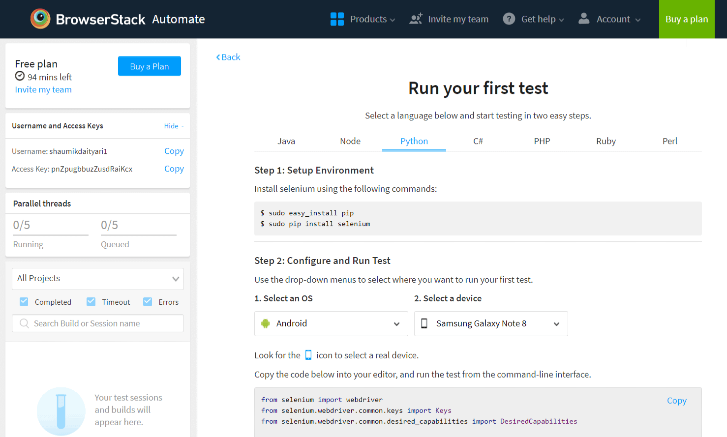 Setting up your first test on BrowserStack