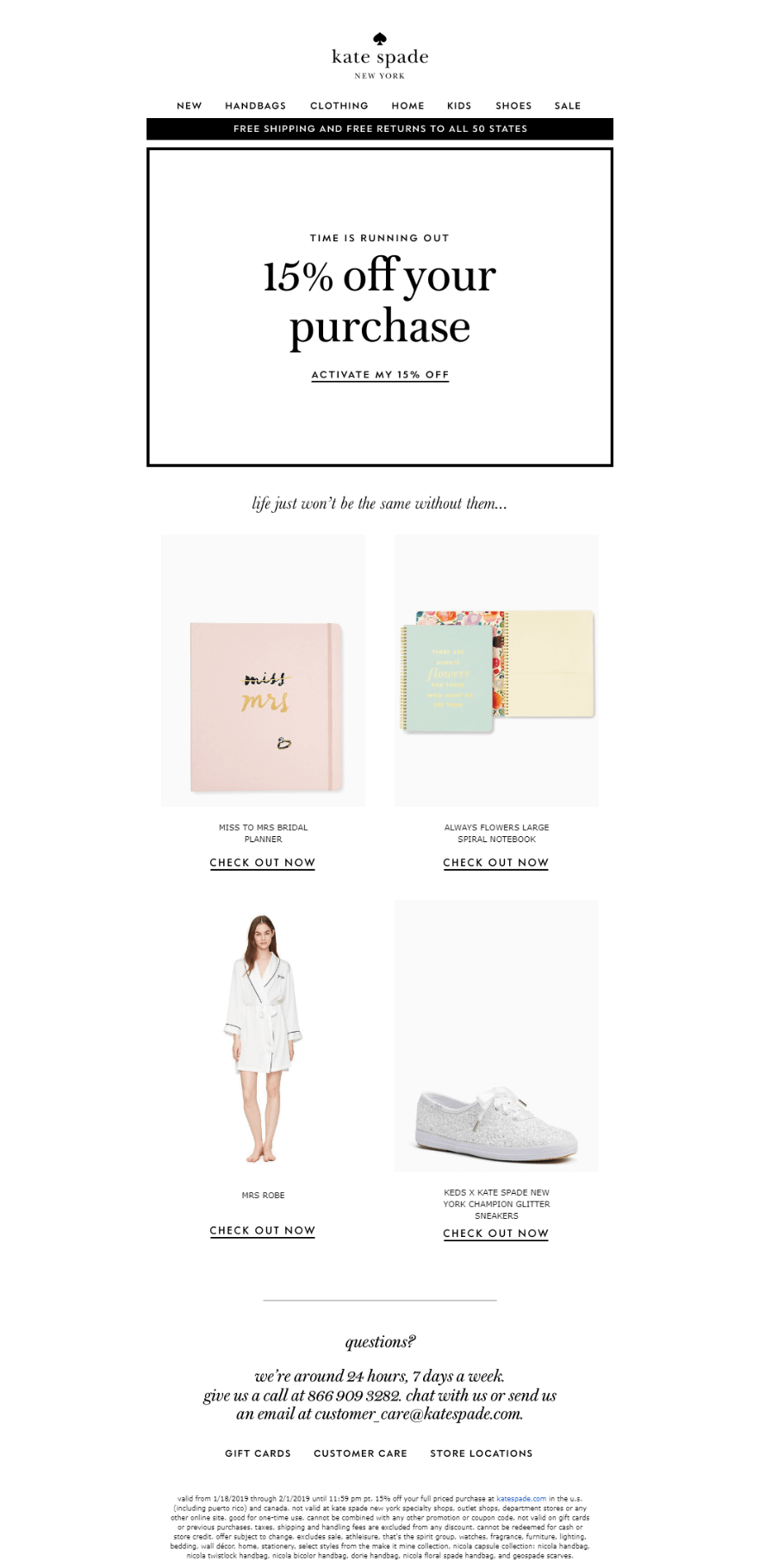 Kate Spade's abandoned cart email