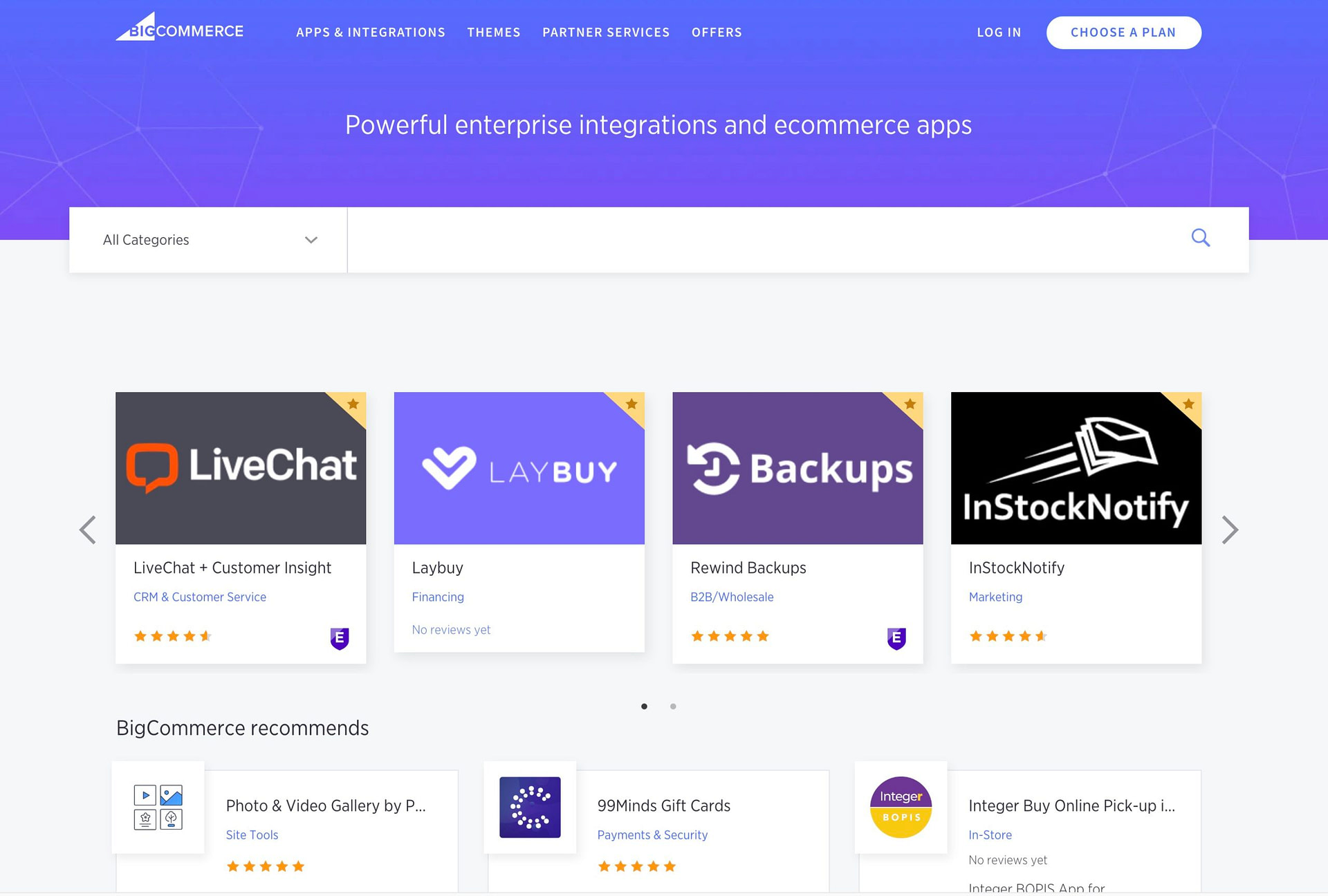 The BigCommerce app store
