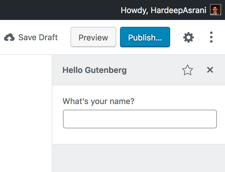 Field in Hello Gutenberg Sidebar