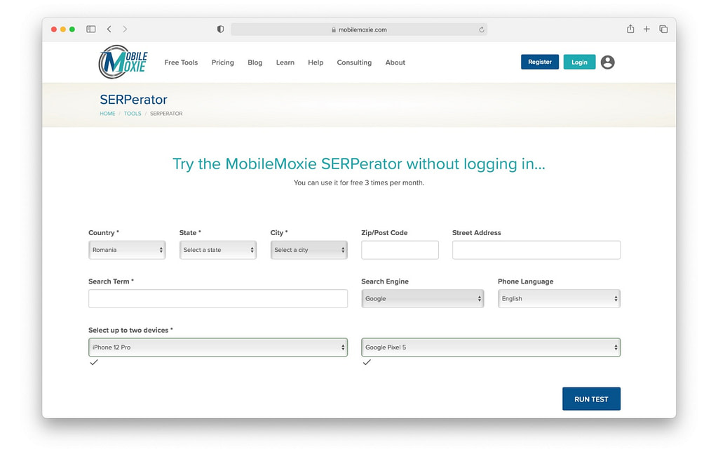 SERPerator Mobile-Friendly Test is an SEO tool for testing website performance