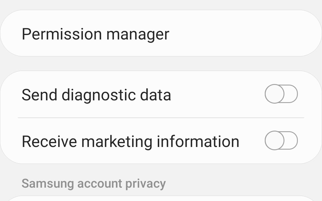 Turning off diagnostic data and marketing offers in Android