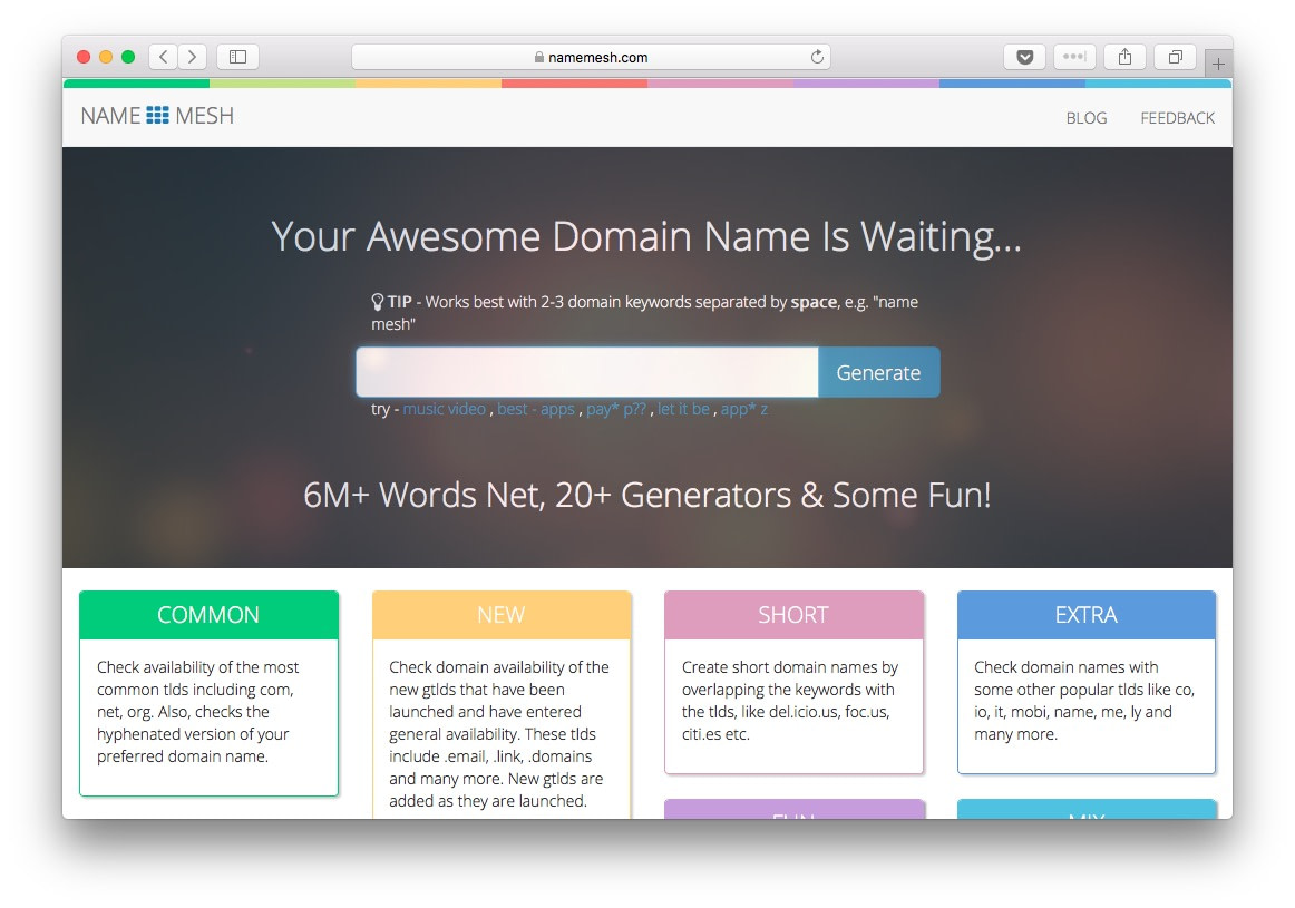 NameMesh has a great number of categories making it one of the best domain name generators available on the internet