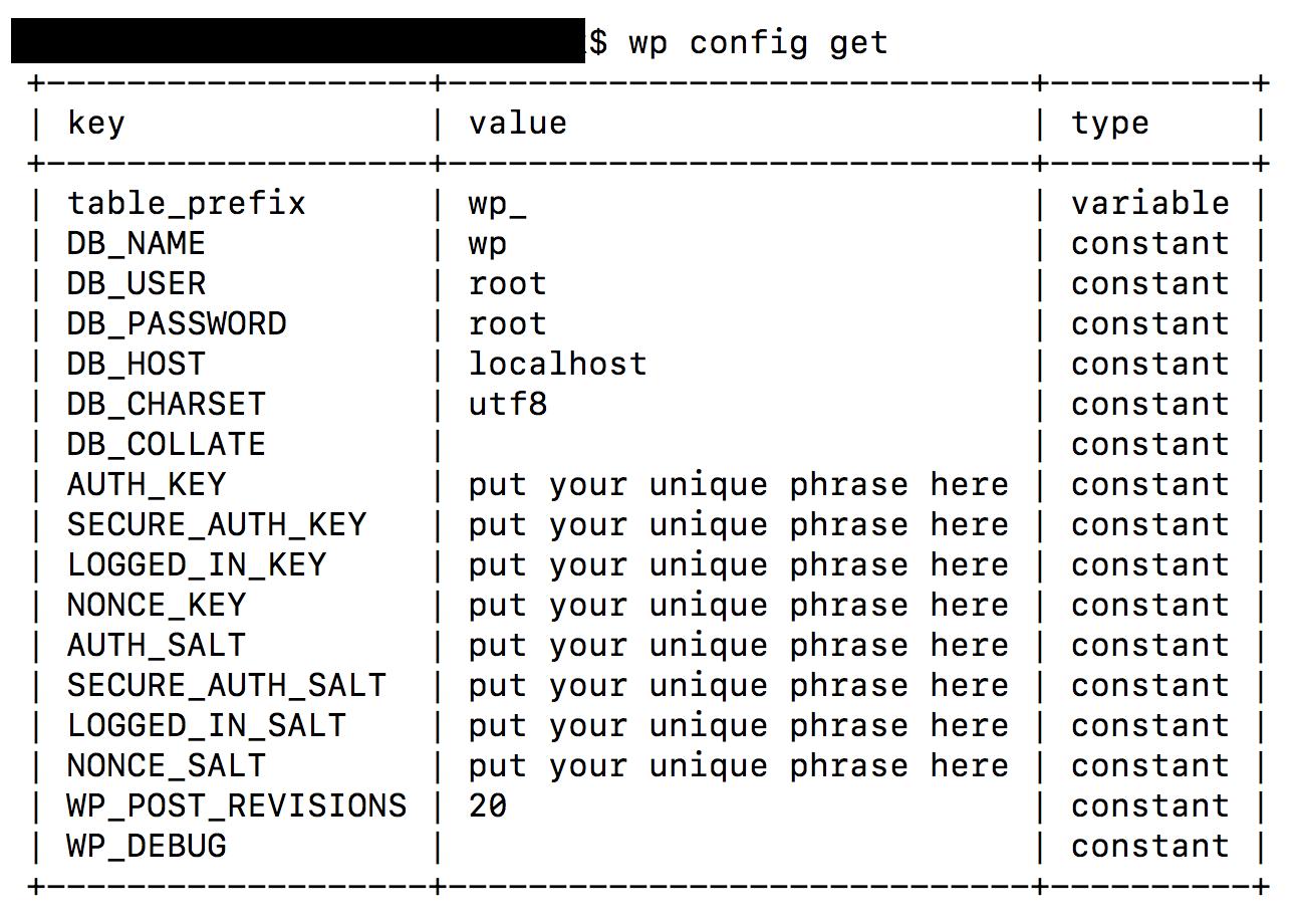 WP-CLI config get
