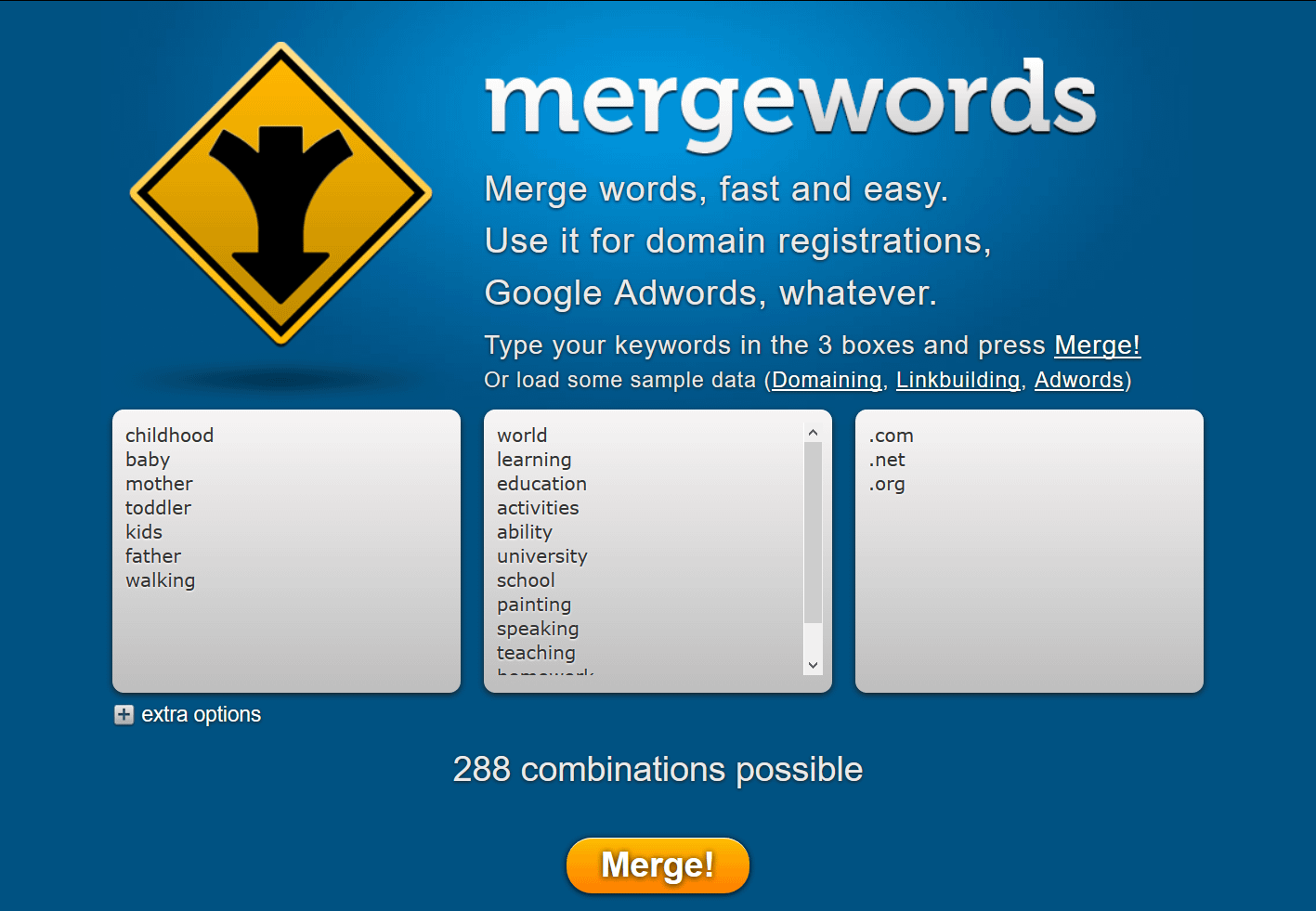 The MergeWords website is one of the best domain generators if you use good lists of words for merging