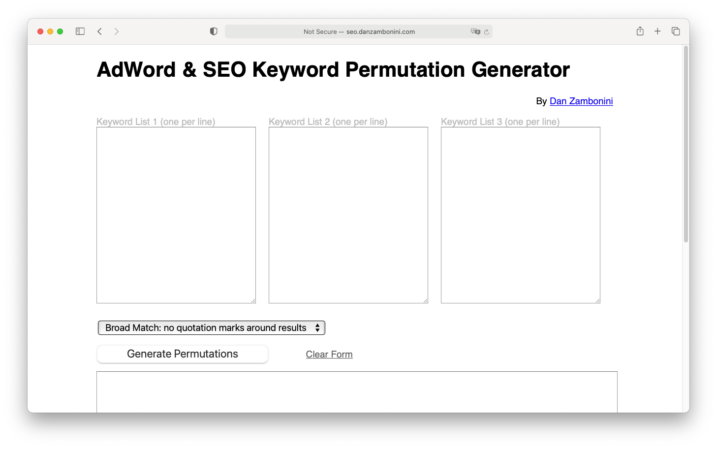 Adword and SEO keyword permutation generator