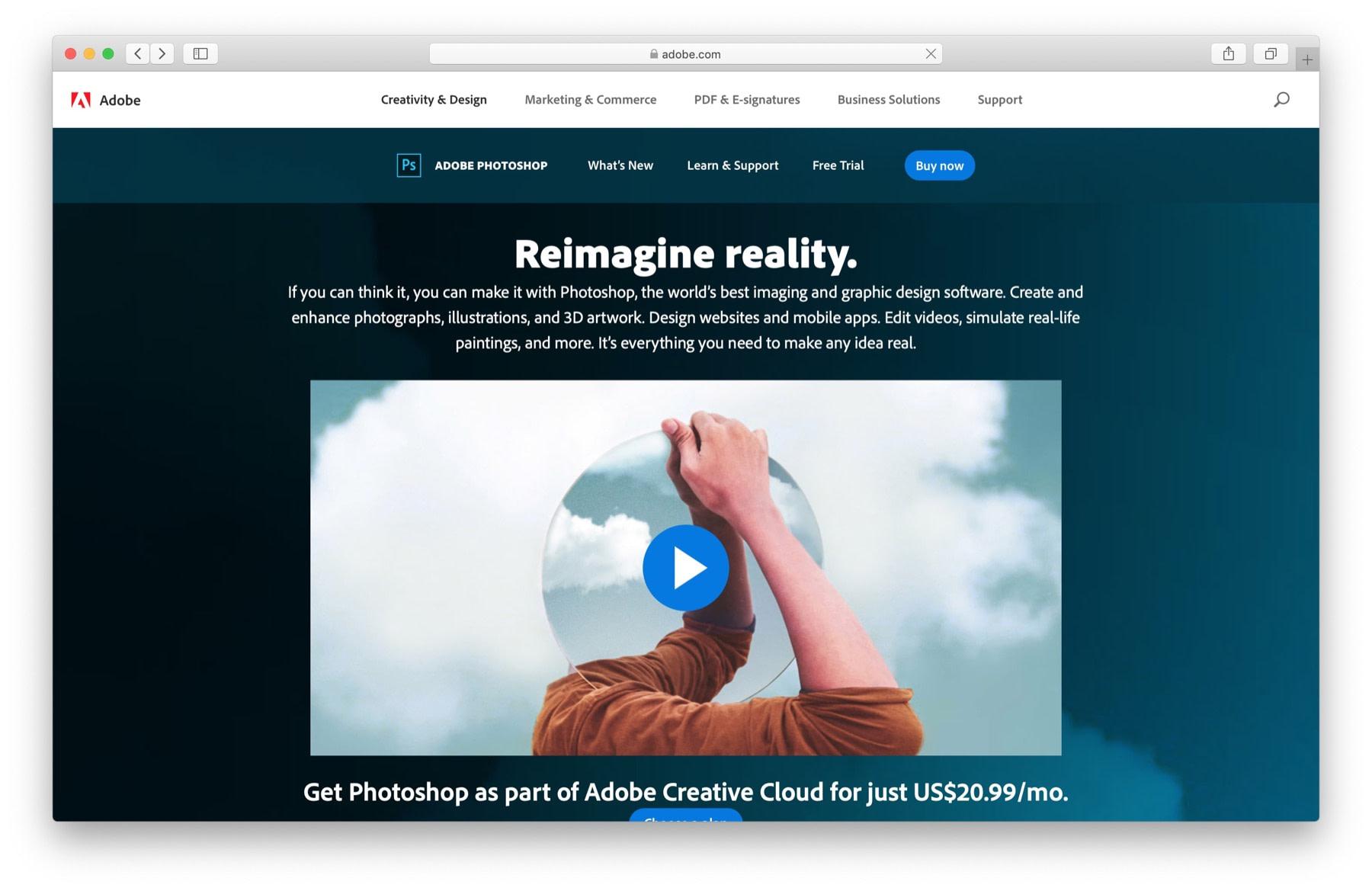 Best website design software #2: Photoshop