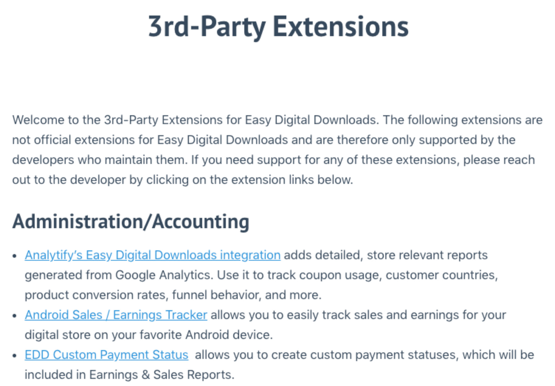 Easy Digital Downloads 3rd party Extensions