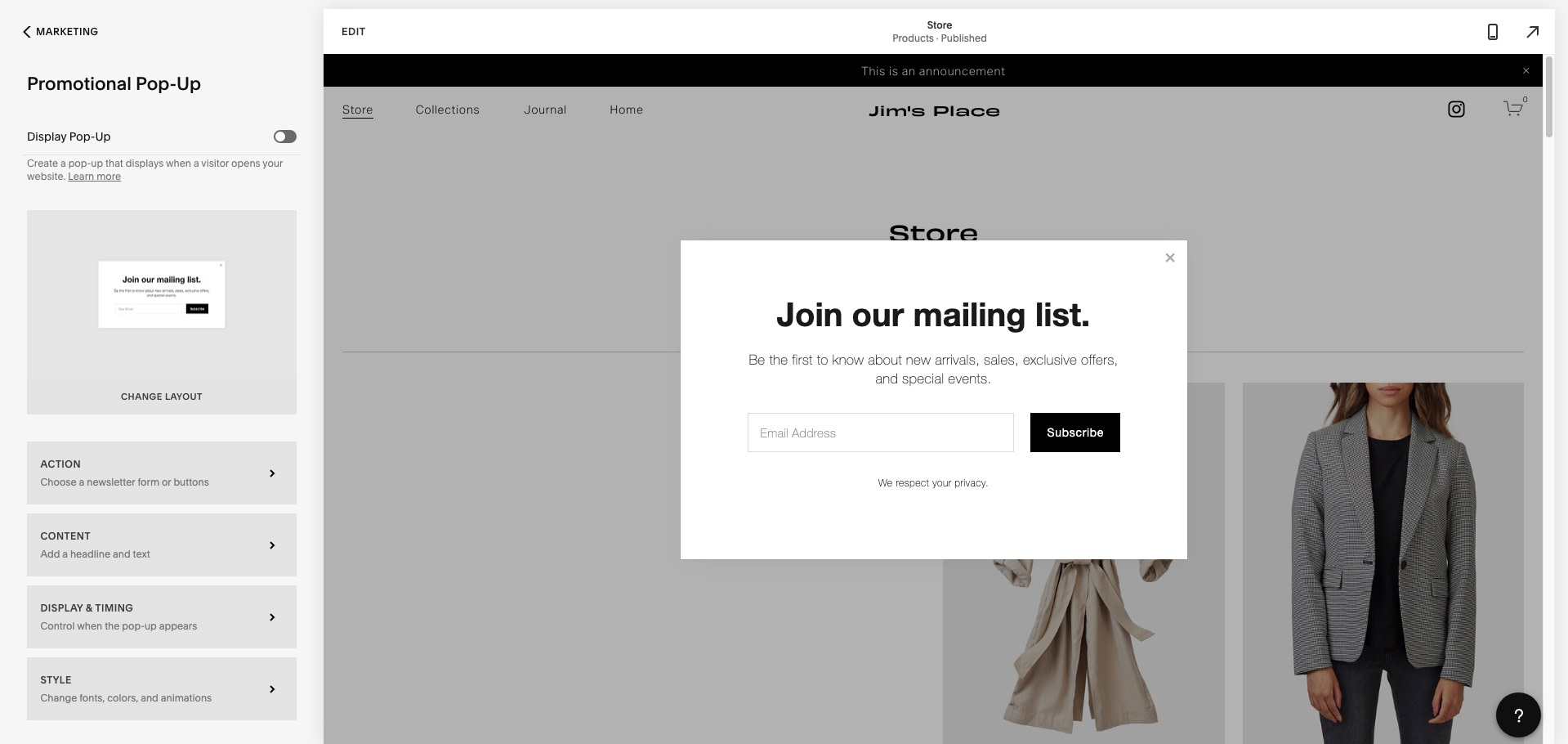 Creating popups is easy with one of our top ranked eCommerce website builders, Squarespace.
