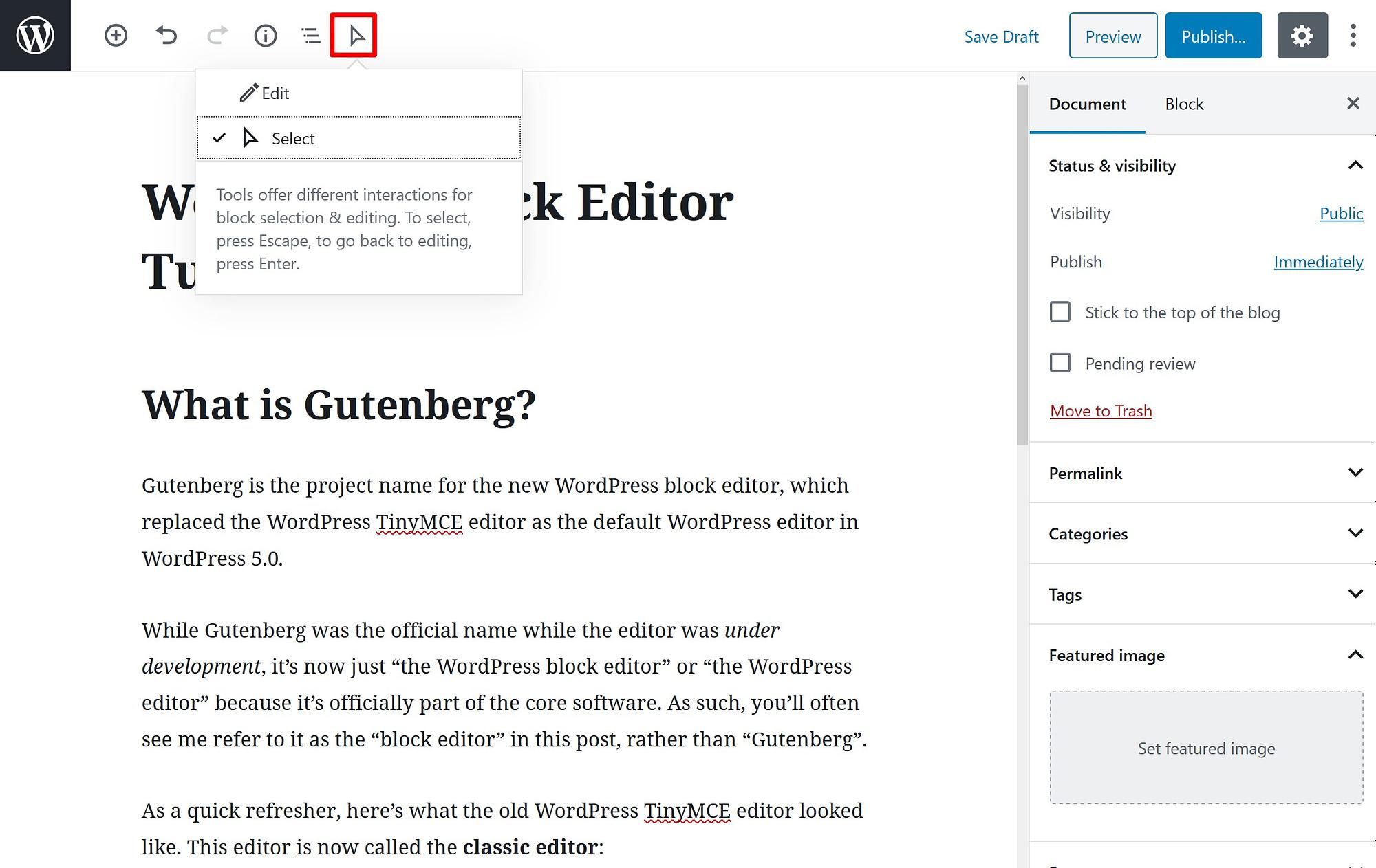 WordPress block editor select mode