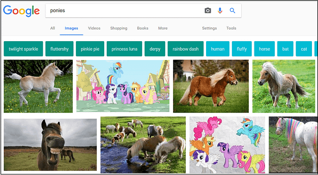 Google image search for ponies