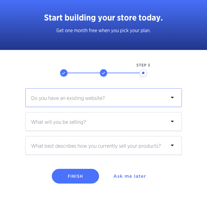 Each eCommerce website builder has a similar sign up process: BigCommerce.
