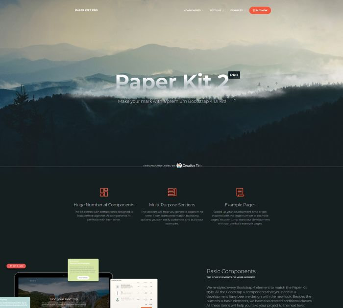 Best Bootstrap 4 templates: Paper Kit 2 PRO