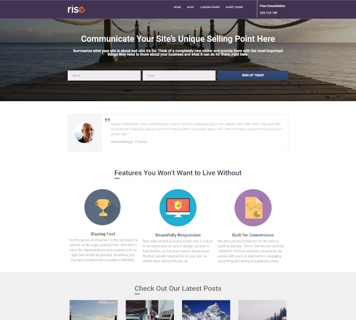 Best Themes for Thrive Architect #1: Rise