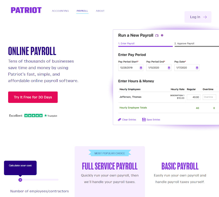 Best payroll software: Patriot