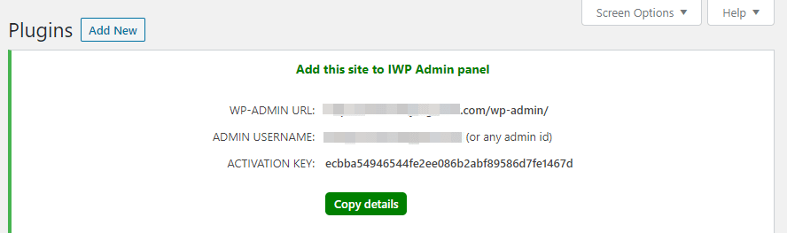 Your InfiniteWP activation key.