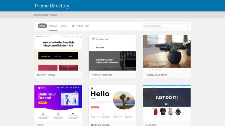 March 2020 WordPress Featured Themes on WordPress.org Removed