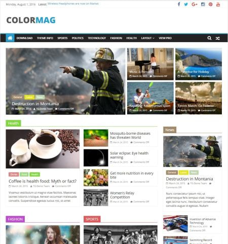 Best free WordPress themes: colormag