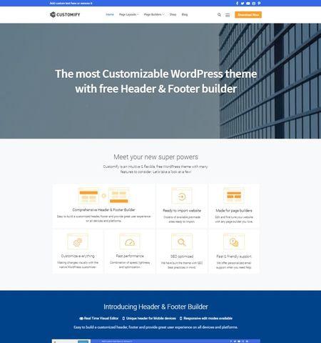 Best free WordPress themes #10: Customify