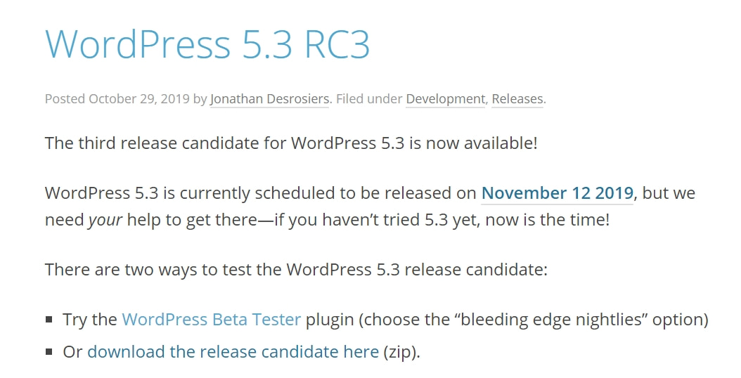 November 2019 WordPress News - WordPress 5.3 release candidate out