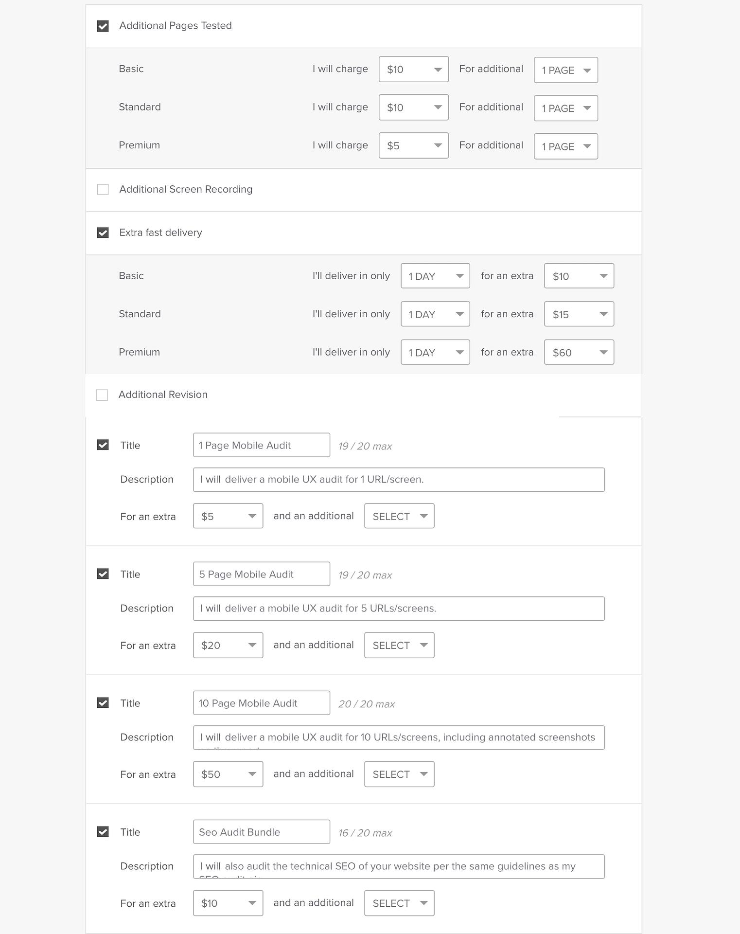 price form