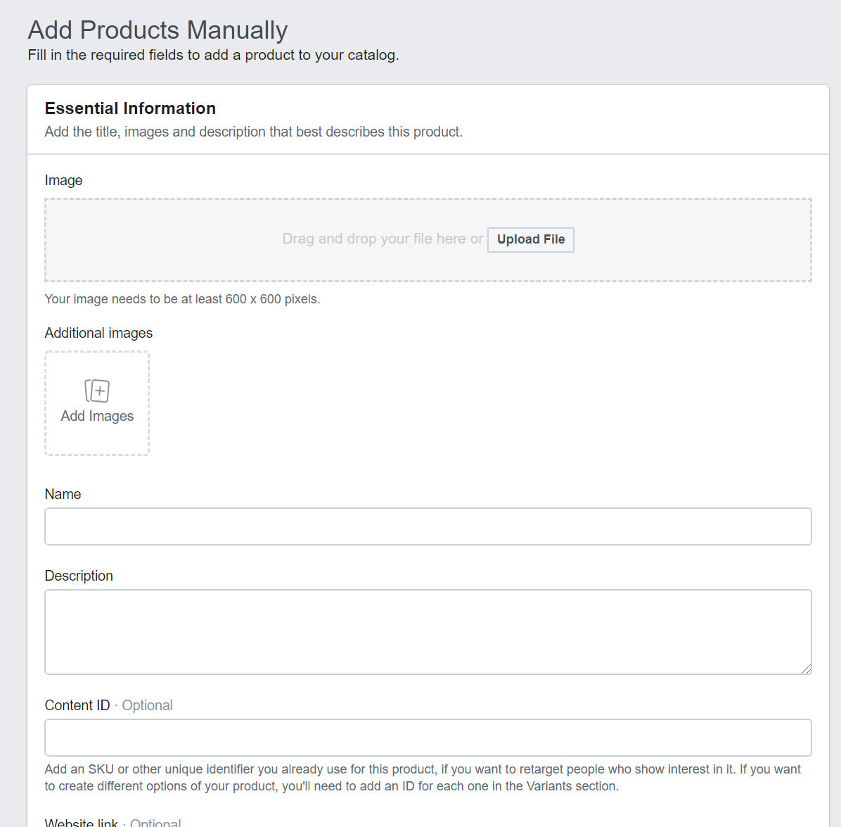 add products manually