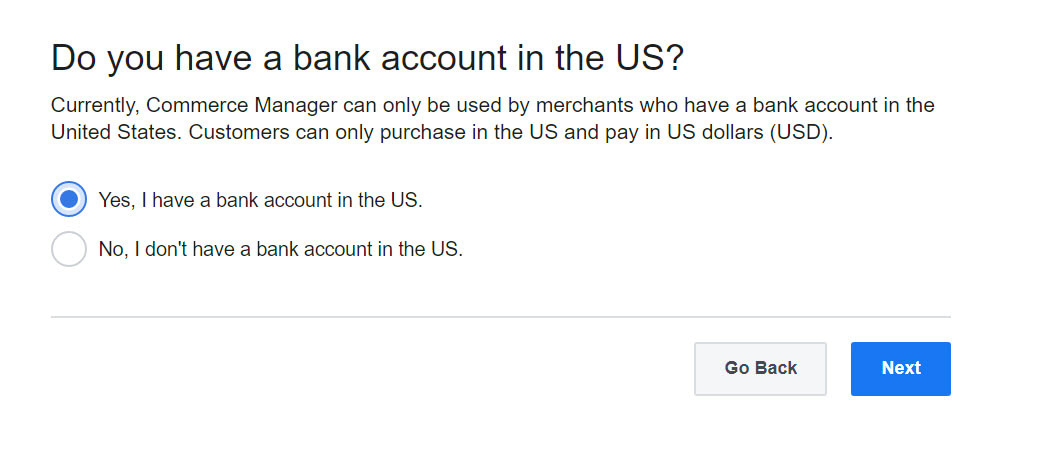 How to sell on Facebook: US bank account