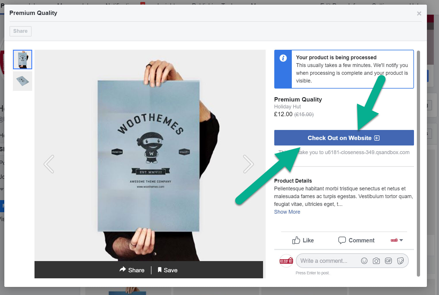 How to sell on Facebook: check out on website