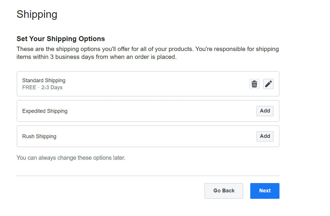 shipping - how to sell on Facebook