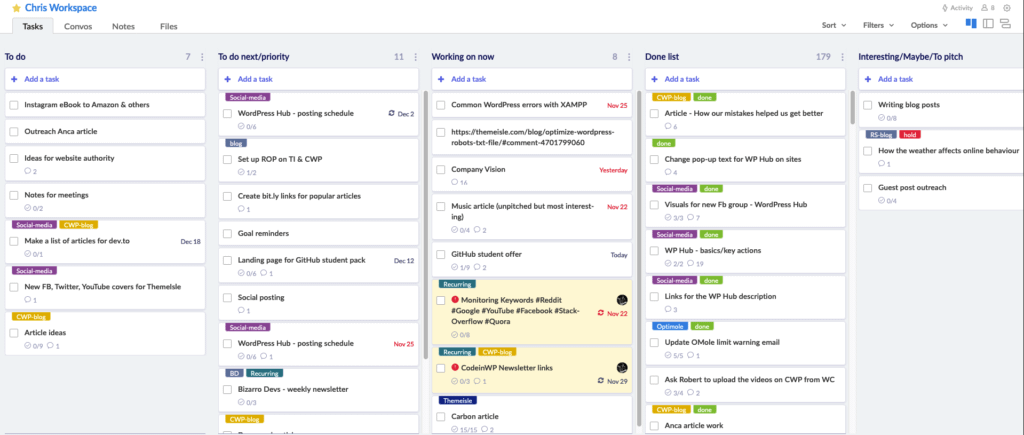My Redbooth task list helps me organize tasks and populate my calendar