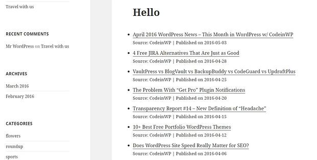 Image url feed wordpress