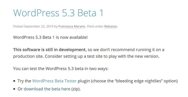 October 2019 WordPress news - WordPress 5.3 Beta 1 out